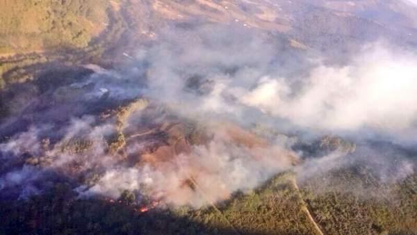 Incendio forestal en Ibias
