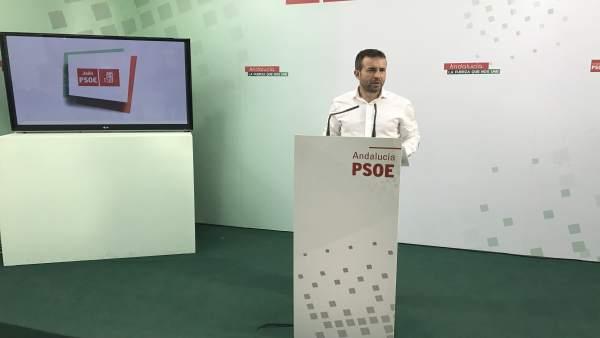 El parlamentario socialista Julio Millán en rueda de prensa.