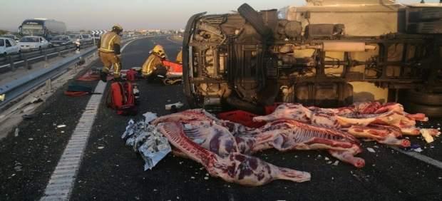 La carne ha quedado esparcida por la carretera