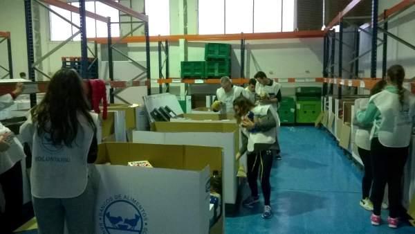 Voluntarios del Banco de Alimentos de Jaén clasifican productos donados.