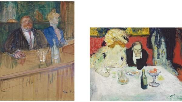 A la izquierda 'En el café: el cliente y la cajera anémica', 1898 de Toulouse-Lautrec y a la derecha 'Los clientes', 1901 de Picasso.