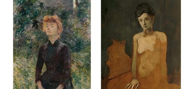 A la izquierda 'À Batignolles', 1888 de Toulouse-Lautrec y a la derecha 'Desnudo sentado', 1905 de Picasso