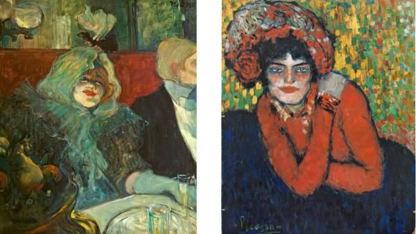 A la izquierda 'En un reservado (En el Rat Mort)', 1899 de Toulouse-Lautrec y a la derecha 'La espera (Margot)', 1901 de Picasso