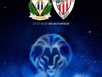 Cartel del Leganés ante el Athletic