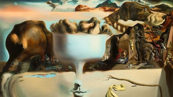 Aparición de una cara y un frutero sobre una playa, 1938 de Salvador Dalí