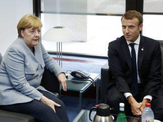 Merkel y Macron, en Bruselas
