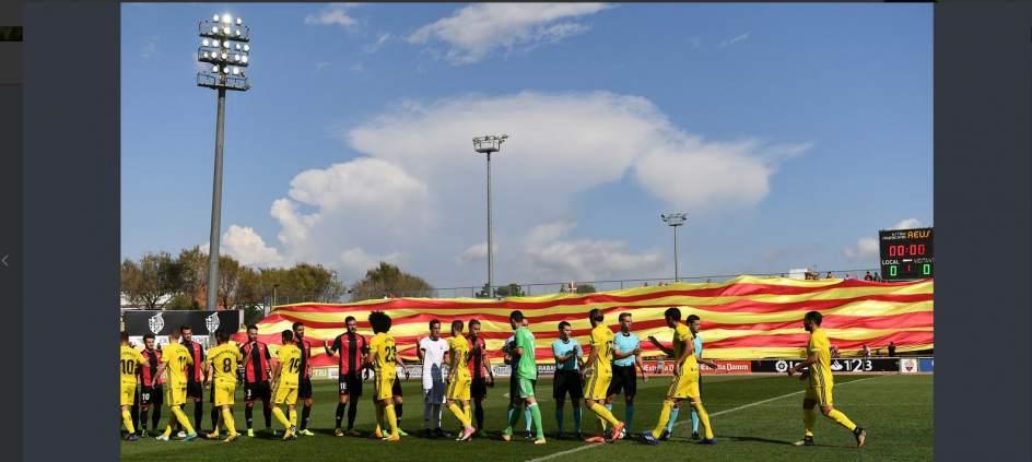 La RFEF abre un expediente al Reus por desplegar una gran senyera en su estadio