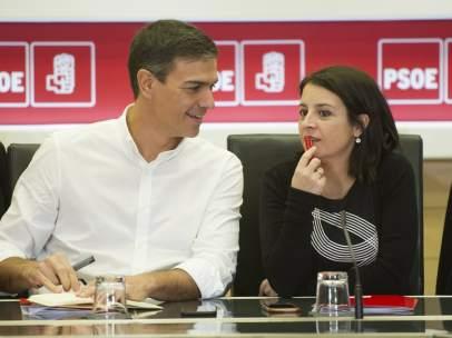 Pedro Sánchez y Adriana Lastra, números uno y dos del PSOE, en Ferraz.