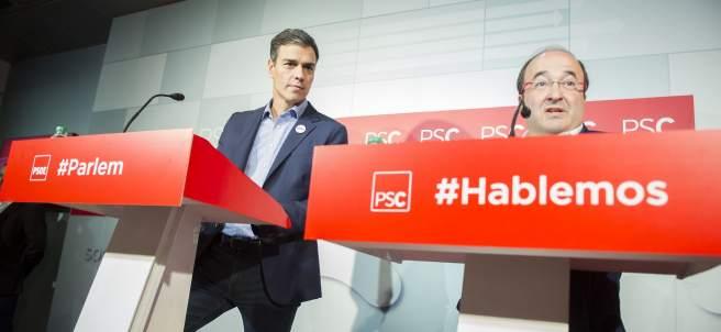 Los líderes de PSOE y PSC, Pedro Sánchez y Miquel Iceta.