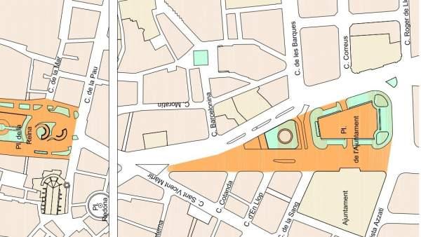 València peatonalizará parte de la plaza del Ayuntamiento en abril de 2018