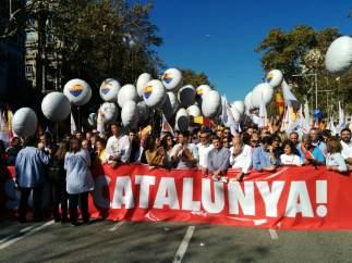 Cabecera de la manifestación de SCC en Barcelona.