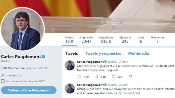 Twitter de Carles Puigdemont