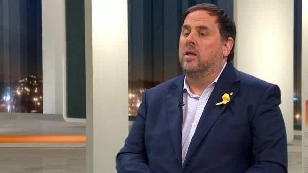 Oriol Junqueras, en el plató de TV3.