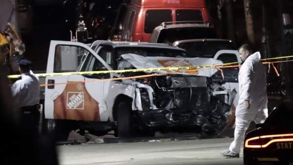 La camioneta con la que se produjo el atentado en Manhattan