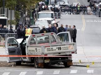 La camioneta del atentado de Nueva York