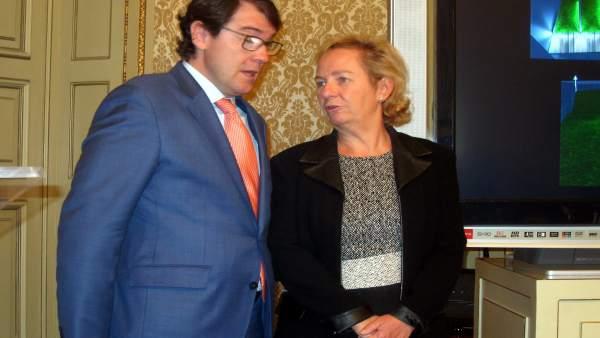 Lombardero junto al alcalde de Salamanca.