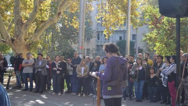 Concentración de estudiantes en Lleida