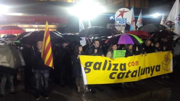 Movilización en apoyo a Cataluña en Vigo