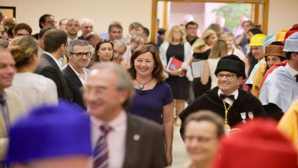 Francina Armengol y Llorenç Huguet en la UIB