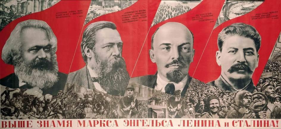 Raise Higher the Banner of Marx, Engels, Lenin and Stalin! 1933. La historia de esta exposición nace de una pasión personal. La que tuvo el diseñador gráfico londinense David King (1943-2016). Creador de la identidad visual y editor de The Sunday Times entre 1965 y 1975, fue en un viaje a Rusia en 1970 cuando se despertó su afición por la cultura gráfica de este país. Gustav Klutsis (1895-1938). Raise Higher the Banner of Marx, Engels, Lenin and Stalin! 1933. Lithograph on paper Purchased 2016. The David King Collection at Tate