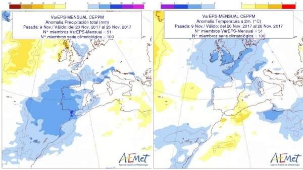 Cuadro descriptivo de la previsión de lluvias en CyL