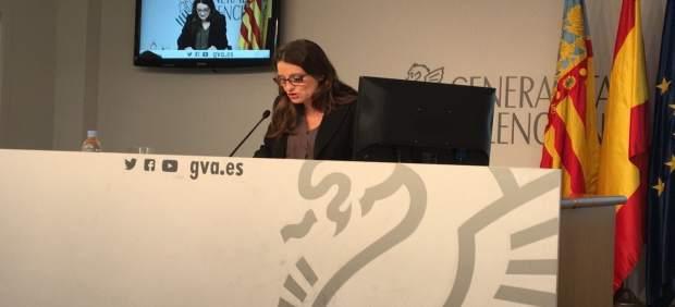Oltra en la rueda de prensa tras el pleno del Consell