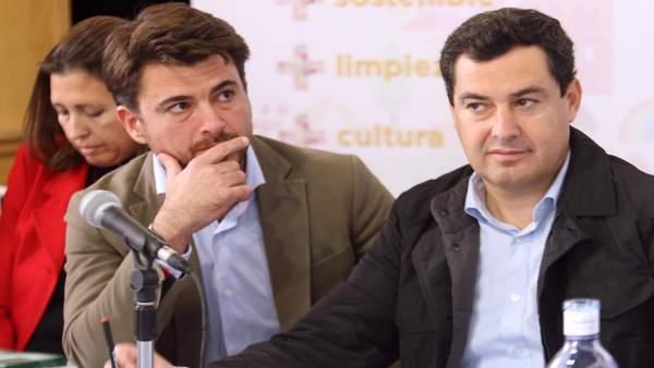 Juanma Moreno, hoy junto a Beltrán Pérez