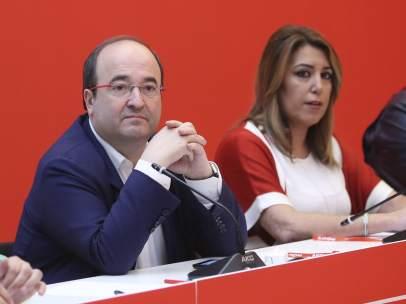 Miquel Iceta, primer secretario del PSC, y Susana Díaz, líder del PSOE de Andalucía.