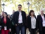 Lastra, Sánchez, Narbona e Iceta a su llegada al Comité Federal de este sábado.