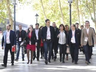 El secretario general del PSOE, Pedro Sánchez, a su llegada al Comité Federal.