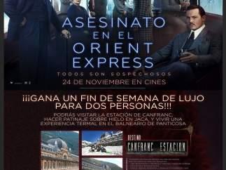 El cartel de la película con la promoción de Destino Canfranc Estación