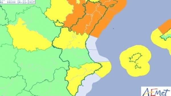 La Comunitat Valenciana està en avís per vents de fins 100 km/h i temperatures a la baixa