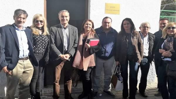 Crespo, Martín y García con los representantes de Asaja en Palomares