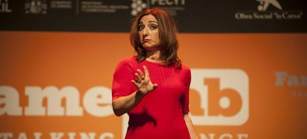 La profesora Margarita Sánchez, en la semifinal de Famelab 2017