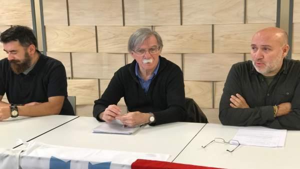 Juan Martín Guevara, hermano del Che, en rueda de prensa con Agora Galiza