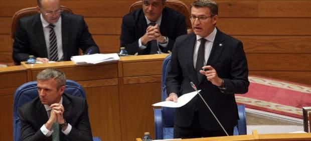 El presidente de la Xunta, Alberto Núñez Feijóo, en el pleno