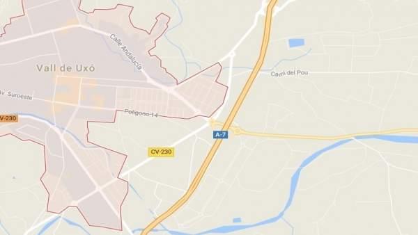 La col·lisió entre quatre vehicles en l'A-7 provoca retencions de fins a 6 km a la Vall d'Uixó (Castelló)