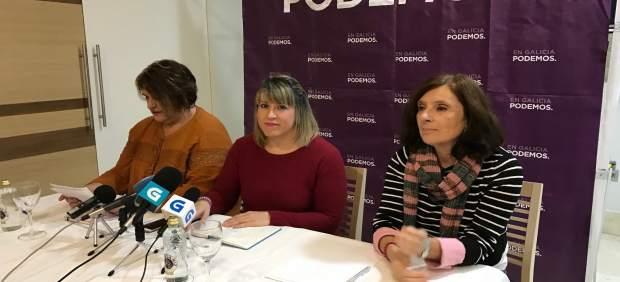 Rueda de prensa de Podemos Galicia, con Carmen Santos