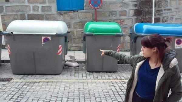 Contenedor en el que apareció un bebé en Ourense en septiembre de 2017