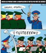 Putin y twitter. Viñeta de Asier y Javier.