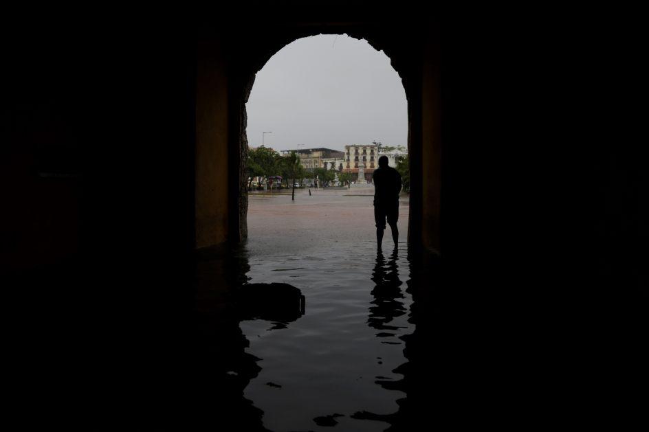 Casco antiguo inundado. Vista del casco antiguo de Cartagena de Indias inundado tras la caída de fuertes lluvias.