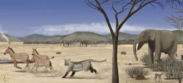 Recreación de la sabana que se extendía por Madrid en el Mioceno Medio