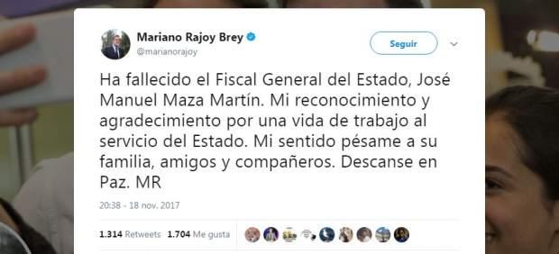 Rajoy lamenta la muerte de Maza