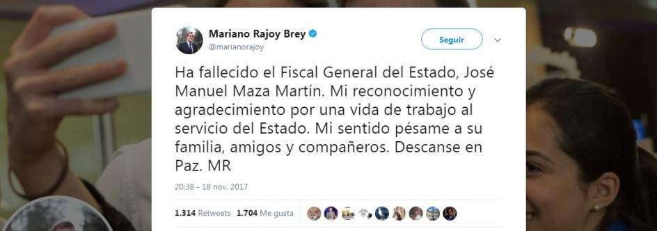 Reacciones a la muerte del fiscal general del Estado, José Manuel Maza