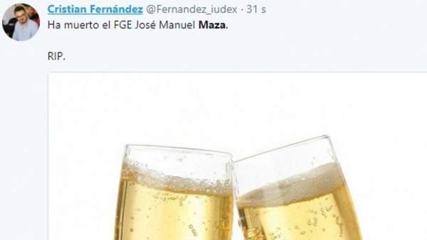 Tweet de Cristian Fernández sobre Maza