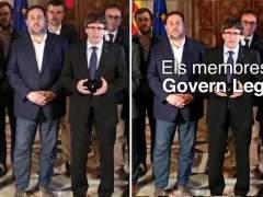 "Puigdemont 'borra' a Santi Vila de la foto del ""Govern legítimo"""
