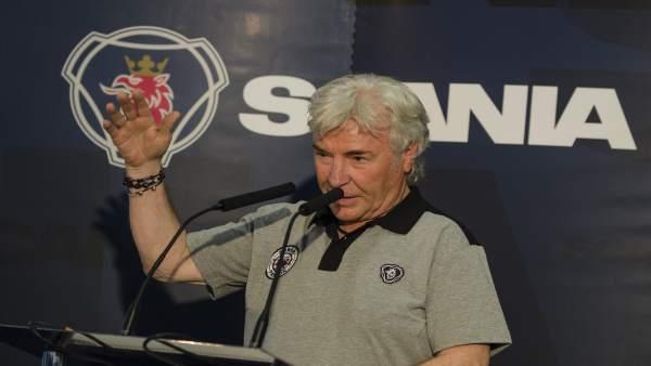 Ángel Nieto en el evento de Scania V8 MotoGP Limited Edition
