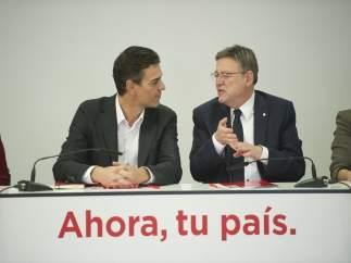 Pedro Sánchez y Ximo Puig este lunes en València