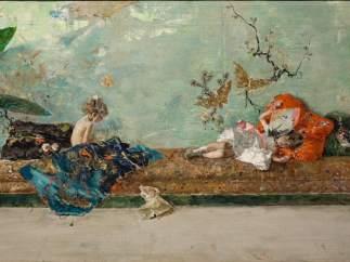 Los hijos del pintor en el salón japonés, 1874