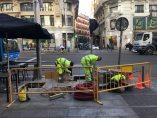 Obras de peatonalización en la Gran Vía